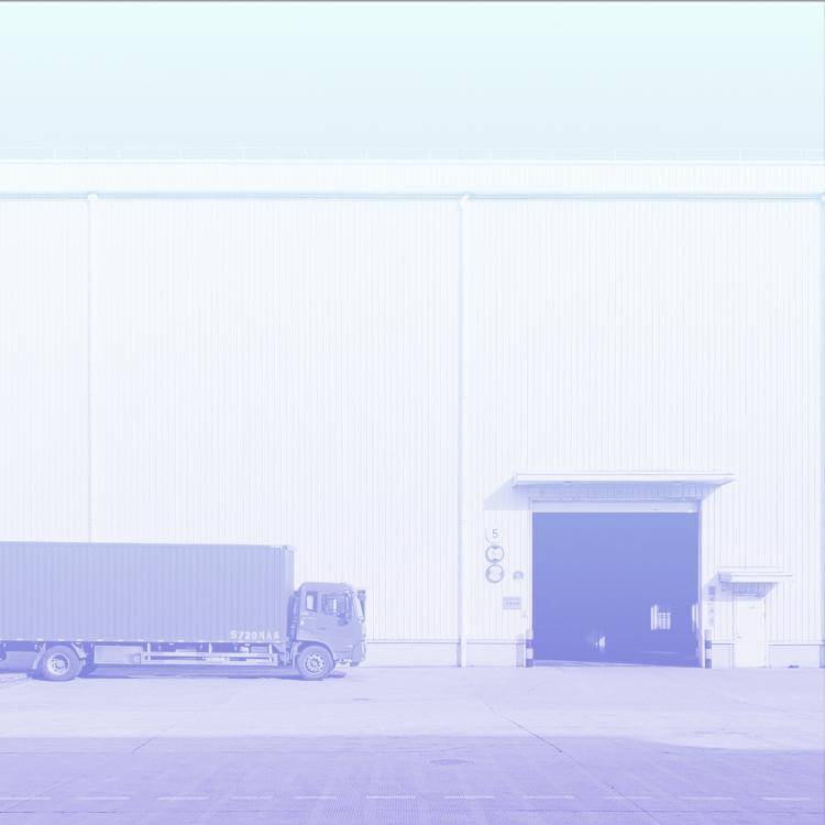Truck near a warehouse